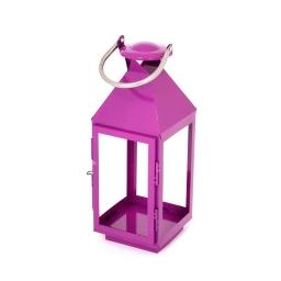lanterne carrée fuchsia en metal et inox - 14.5*14.5*h.40cm