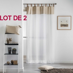 Lot 2 pan. pass. faux cuir 140x240 voile sable+top effet lin pearl Naturel/Blanc