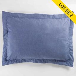 Lot 2 taies d'oreiller volant plat 50x70 polycoton uni actually +pt bourdon Bleu