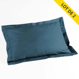 Lot 2 taies d'oreiller volant plat 50x70 uni 57 fils lina  + pt bourdon Bleu nuit