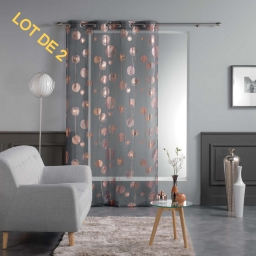 Lot 2 voilages oeillets 140x240 voile imp. metallise tinette Anthracite/Or rose