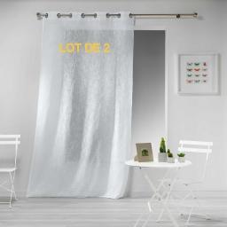 Lot de 2 panneaux a oeillets 140 x 240 cm effet lin tisse haltona Blanc
