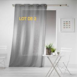Lot de 2 panneaux a oeillets 140 x 240 cm effet lin tisse haltona Gris
