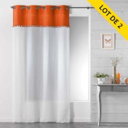 Lot de 2 panneaux a oeillets 140 x 240 cm voile sable+franges alixia Orange