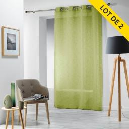 Lot de 2 panneaux a oeillets 140 x 240 cm voile tisse carlin Vert