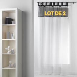 Lot de 2 panneaux a passants 140 x 240 cm voile bicolore duo Blanc/Noir