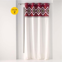 Lot de 2 rideaux a oeillets 140 x 240 cm 100% coton Neo berbere