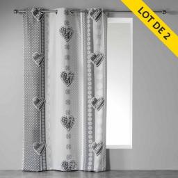 Lot de 2 rideaux a oeillets 140 x 240 cm coton imprime asmara Gris