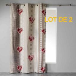 Lot de 2 rideaux a oeillets 140 x 240 cm coton imprime asmara Rouge