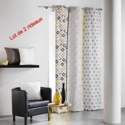 Lot de 2 rideaux a oeillets 140 x 240 cm coton imprime remix Gris/Jaune