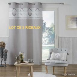 lot de 2 rideaux a oeillets 140 x 240 cm coton imprime solamour