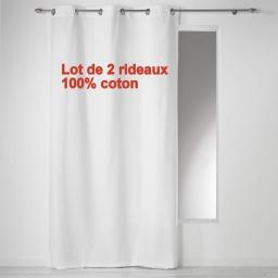 Lot de 2 rideaux a oeillets 140 x 240 cm coton uni panama Blanc