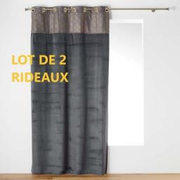 Lot de 2 rideaux a oeillets 140 x 240 cm duchesse Anthracite