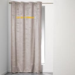 Lot de 2 rideaux a oeillets 140 x 240 cm velours uni romantic Taupe