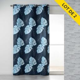 Lot de 2 rideaux a oeillets 140 x 240 coton imprime azur leaf Bleu