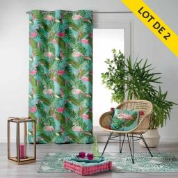 Lot de 2 rideaux a oeillets 140 x 240 coton imprime zootica Turquoise