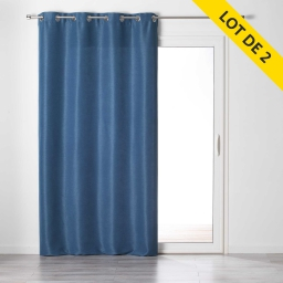 Lot de 2 rideaux a oeillets 140 x 240 tamisant chambray glory Indigo