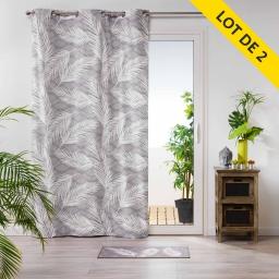 lot de 2 rideaux a oeillets 140 x 250 coton imprime maori