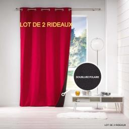 Lot de 2 rideaux a oeillets 140 x 260 cm jacquard polaire avoriaz Rouge