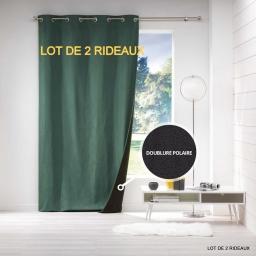 Lot de 2 rideaux a oeillets 140 x 260 cm jacquard polaire avoriaz Vert