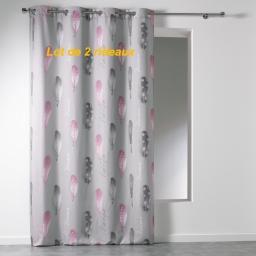 Lot de 2 rideaux a oeillets 140 x 260 cm microfibre imprimee poetique Gris