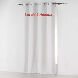 Lot de 2 rideaux a oeillets 140 x 260 cm microfibre unie absolu Blanc