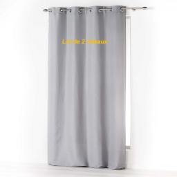 Lot de 2 rideaux a oeillets 140 x 260 cm microfibre unie absolu Gris