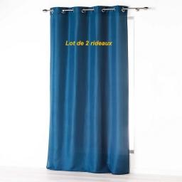 Lot de 2 rideaux a oeillets 140 x 260 cm microfibre unie absolu Indigo