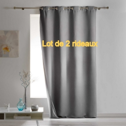 Lot de 2 rideaux a oeillets 140 x 260 cm occultant isolant covery Gris