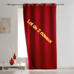 Lot de 2 rideaux a oeillets 140 x 260 cm occultant isolant covery Rouge