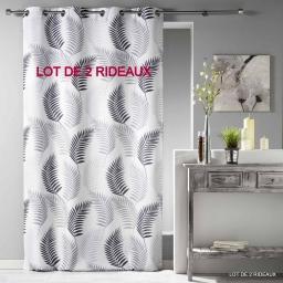 Lot de 2 rideaux a oeillets 140 x 260 cm polyester imprime goyave Blanc