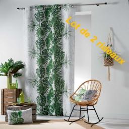 lot de 2 rideaux a oeillets 140 x 260 cm polyester imprime guyane