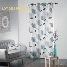 Lot de 2 rideaux a oeillets 140 x 260 cm polyester imprime mylae Menthe