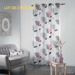 Lot de 2 rideaux a oeillets 140 x 260 cm polyester imprime mylae Rose