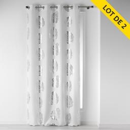Lot de 2 rideaux a oeillets 140 x 260 cm polyester imprime palmette Blanc/Argent