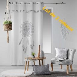 lot de 2 rideaux a oeillets 140 x 260 cm polyester imprime reveline des. place