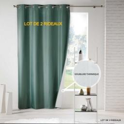 Lot de 2 rideaux a oeillets 140 x 260 cm polyester uni thermique icemount Vert
