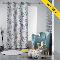 lot de 2 rideaux a oeillets 140 x 260 polyester imprime andalousie