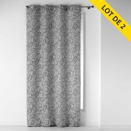 lot de 2 rideaux a oeillets 140 x 260 polyester imprime dalamo
