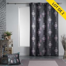 Lot de 2 rideaux a oeillets 140 x 260 polyester imprime ete indien Anthracite