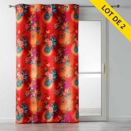 lot de 2 rideaux a oeillets 140 x 260 polyester imprime fantasia