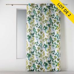 Lot de 2 rideaux a oeillets 140 x 260 polyester imprime ficusia Blanc