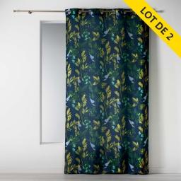 Lot de 2 rideaux a oeillets 140 x 260 polyester imprime ficusia Noir