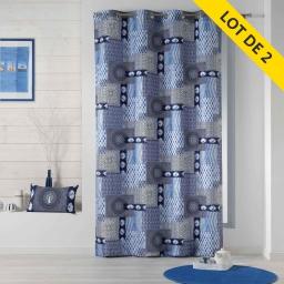 Lot de 2 rideaux a oeillets 140 x 260 polyester imprime hendaye Bleu