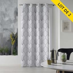 Lot de 2 rideaux a oeillets 140 x 260 polyester imprime lagune Gris