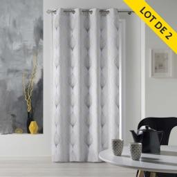 Lot de 2 rideaux a oeillets 140 x 260 polyester imprime lagune Jaune