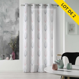 Lot de 2 rideaux a oeillets 140 x 260 polyester imprime lagune Rose