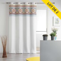 Lot de 2 rideaux a oeillets 140 x 260 polyester imprime luisa Blanc