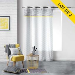 Lot de 2 rideaux a oeillets 140 x 260 polyester imprime mirade Jaune
