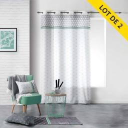 Lot de 2 rideaux a oeillets 140 x 260 polyester imprime mirade Menthe